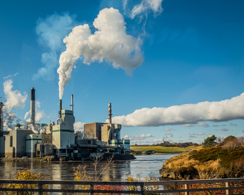 pulp mill on the west side of the reversing rapids on the Saint John River, New Brunswick, Canada.